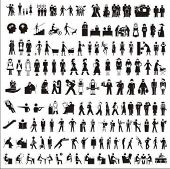 Pictograms of the people. One-color big vector collection