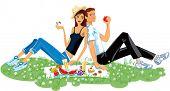 Pair enamored on picnic