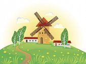 Sunny rural landscape with windmills
