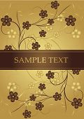 Golden and chocolate frame for text. Vector