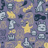 Funny doodles. Seamless pattern. Vector illustration.