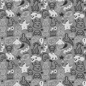 Seamless doodles pattern. Vector illustration.