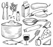 Hand drawn cooking doodles. Vector illustration.