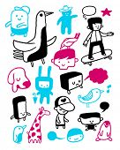 Funny characters collection. Vector illustration.