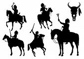 stock photo of valiant  - Silhouettes of American Indians on horseback on a white background - JPG