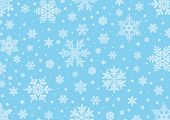 Winter background with 8 different snowflakes