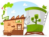 Stylized green factory representing environment friendly businesses