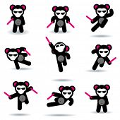 Set of nine ninja bears.