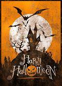 Vintage Halloween metal sign/poster. Illustration.