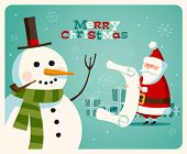 Christmas card with Santa and snowman. Vector. Editable