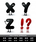 Funny alphabet. Easy to edit. Make your own funny word.