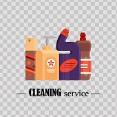 Cleaning Service. Set House Cleaning Tools On Transparent Background. Detergent And Disinfectant Pro poster