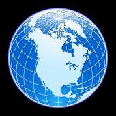 Blue vector globe. North America.