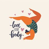 Happy Yoga Plus Size Girl. Happy Body Positive Concept. Different Is Beautiful. Attractive Overweigh poster