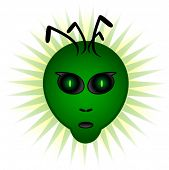 An alien head with a pair of green mesmerizing eyes. Is it trying to communicate?