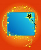 Magic wand casting a spell on a blue copy space. Add your own text or images.