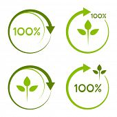 One hundred percent recyclable logo.