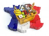 Market basket or consumer price index in France. Shopping basket with foods on the map of France. 3d poster