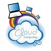 Cloud computing concept. Laptop computers surfing on the rainbow connected to the