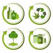 Green eco friendly design concepts - bottle recycling, green waste recycling, tree conservation, can