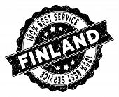 Finland Stamp With Best Quality Caption. Vector Black Seal Print Imitation With Grunge Texture. Awar poster
