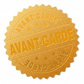 Avant-garde Gold Stamp Award. Vector Golden Award With Avant-garde Label. Text Labels Are Placed Bet poster