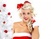 Pin-up sexy Girl wearing Santa Claus clothes