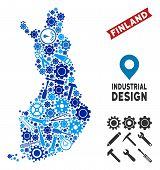 Equipment Finland Map Collage Of Cogwheels, Spanners, Hammers And Other Tools. Abstract Territorial  poster