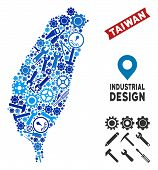 Instrument Taiwan Island Map Composition Of Cogs, Wrenches, Hammers And Other Instruments. Abstract  poster