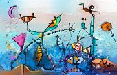 Abstract Colorful Fantasy Oil Painting. Semi- Abstract Of Chidren, Tree, Fish And Bird. Spring ,summ poster