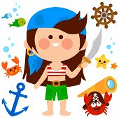 Vector Set Of A Pirate Girl With A Sword And Other Pirate Themed Illustrations. poster