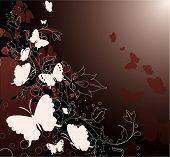 Floral Background Wwith Butterflies