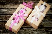 Gift Boxes Of Marshmallows From The Confectioner, A Compliment. On A Wooden Background. Romance poster