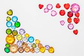 Diamonds In Heart Shape And Colorful Diamonds In White Background With Copy Space poster