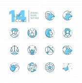 Zodiac Signs - Set Of Line Design Style Icons Isolated On White Background. Blue Pictograms With Ari poster