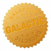 Galactic Gold Stamp Award. Vector Gold Award With Galactic Label. Text Labels Are Placed Between Par poster