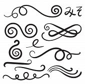 Swoosh Curls Swash Swish With Scribbles And Squiggle Swooshes, Swashes & Swishes poster