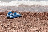 flip flops sandal on beach and sea wave.Summer holiday.  poster