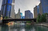 Chicago, Illinois Architecture And Skyline Along The Chicago River. poster