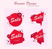 Abstract Red Origami Shapes. Abstract Origami Banners. Round Red Banners. Vector Banner Icons. Vecto poster