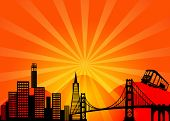 San Francisco Kalifornien Stadt Skyline Clipart