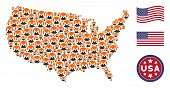 Monero Currency Icons Are Composed Into United States Map Collage. Vector Collage Of Usa Territorial poster
