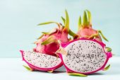 Half And Slice Dragon Fruit On Color Background, Tropical Fruit poster