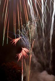 stock photo of guy fawks  - Fireworks, Guy Fawkes celebration 2011 in Berkshire England ** Note: Slight blurriness, best at smaller sizes - JPG