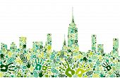 Go Green Hands City Skyline Background