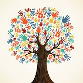 picture of diversity  - Isolated diversity tree hands illustration - JPG
