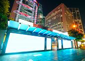 picture of bus-shelter  - Blank billboard on bus stop at night - JPG