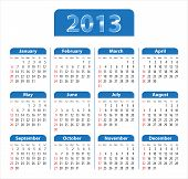 stock photo of weekdays  - Blue glossy calendar for 2013 - JPG