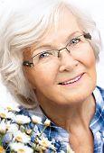 Retrato de mujer Senior, en fondo blanco con pelo blanco y margaritas