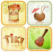 stock photo of ukulele  - Set of Hawaiian icons  - JPG